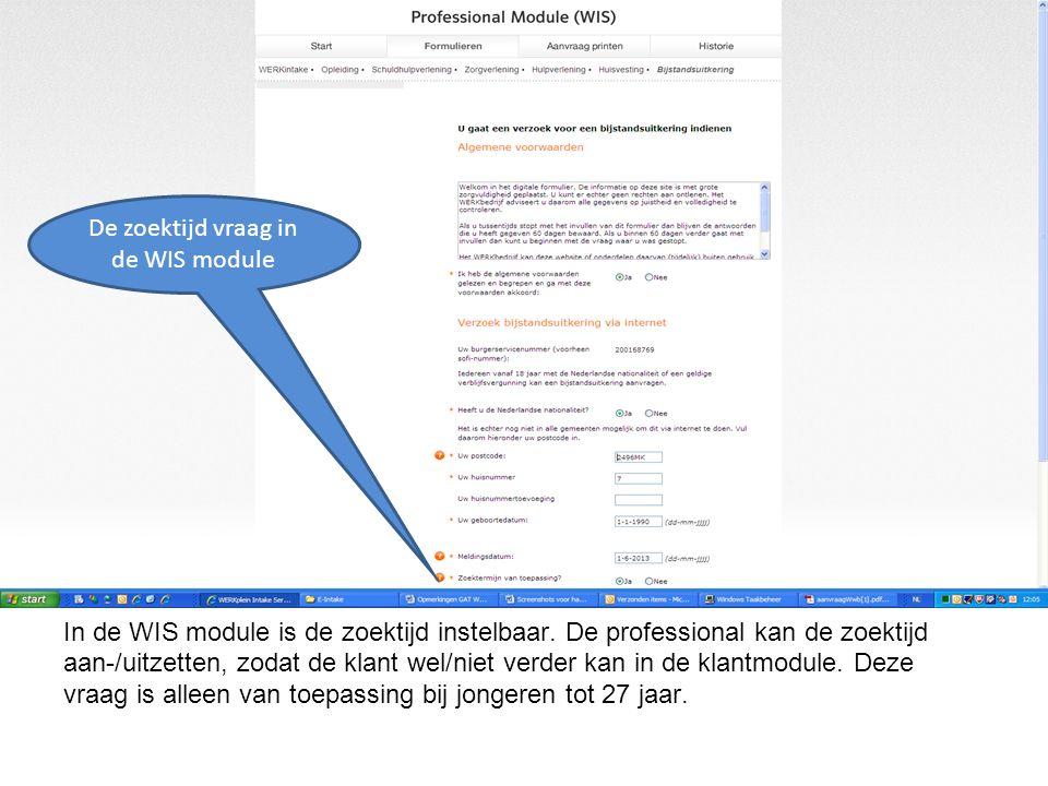 In de WIS module is de zoektijd instelbaar.