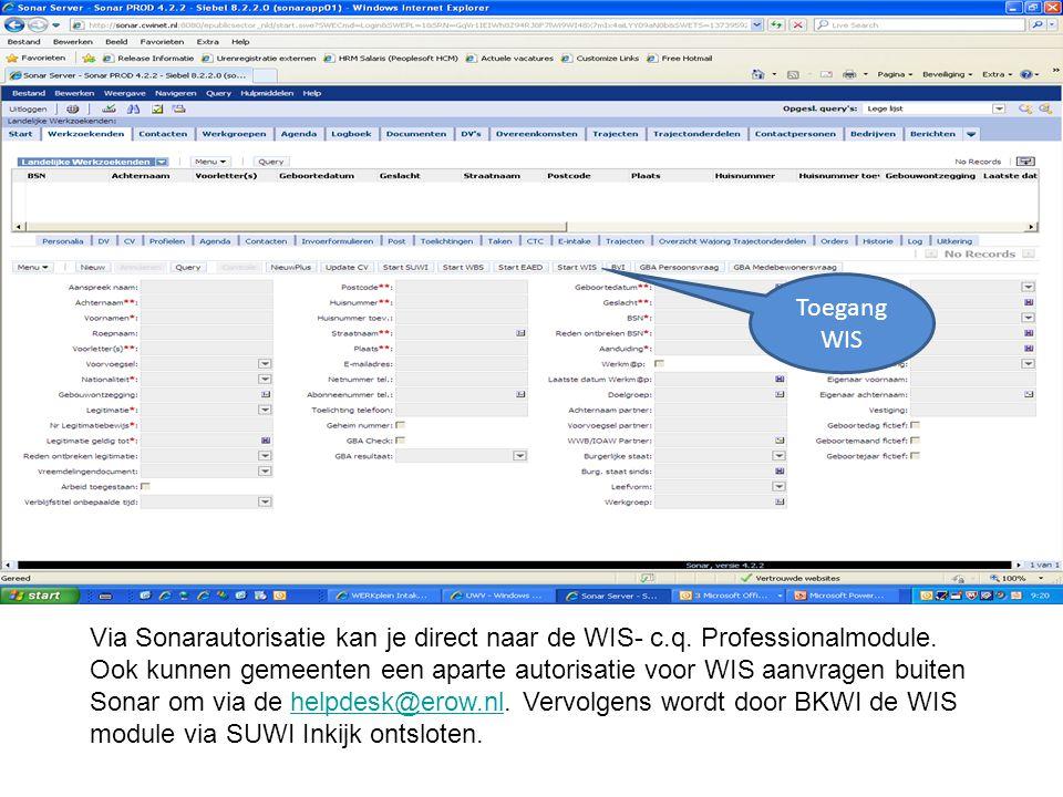 Via Sonarautorisatie kan je direct naar de WIS- c.q. Professionalmodule. Ook kunnen gemeenten een aparte autorisatie voor WIS aanvragen buiten Sonar o