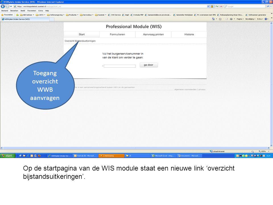 Op de startpagina van de WIS module staat een nieuwe link 'overzicht bijstandsuitkeringen'. Toegang overzicht WWB aanvragen