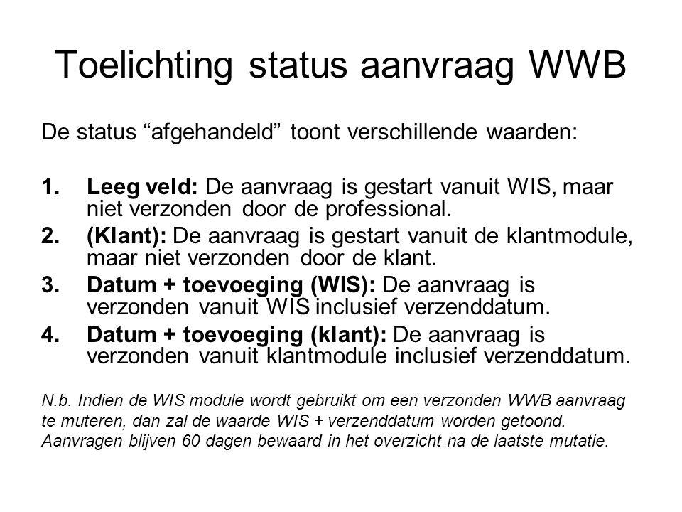 """Toelichting status aanvraag WWB De status """"afgehandeld"""" toont verschillende waarden: 1.Leeg veld: De aanvraag is gestart vanuit WIS, maar niet verzond"""
