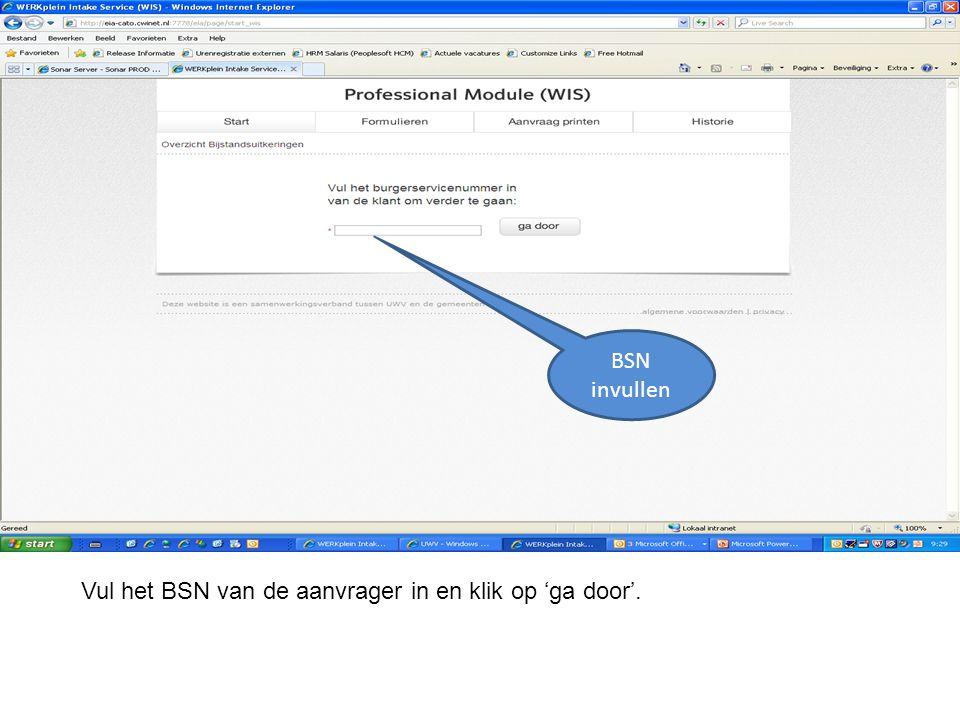 Vul het BSN van de aanvrager in en klik op 'ga door'. BSN invullen