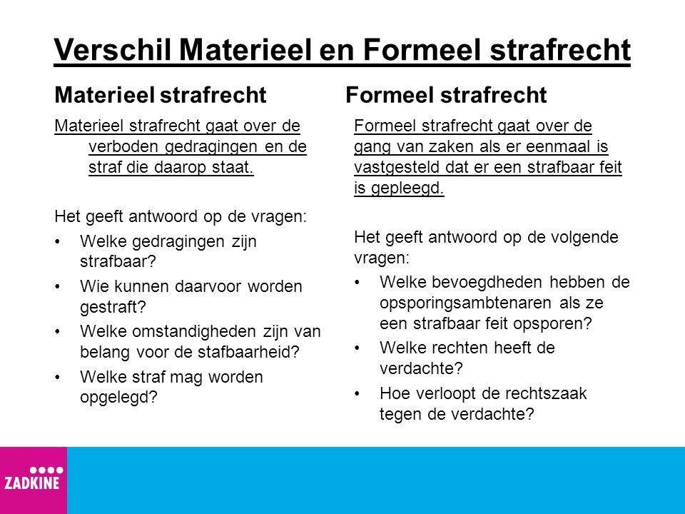 Verschil Materieel en Formeel strafrecht Materieel strafrecht Materieel strafrecht gaat over de verboden gedragingen en de straf die daarop staat.