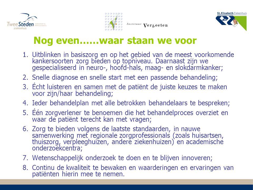 1.Regiogesprekken 2.Organisatie oncologie via netwerkstructuur: intern en regionaal ozorgpaden oone-stop-shop osnelle diagnostiek Hoe willen we dat bereiken -1