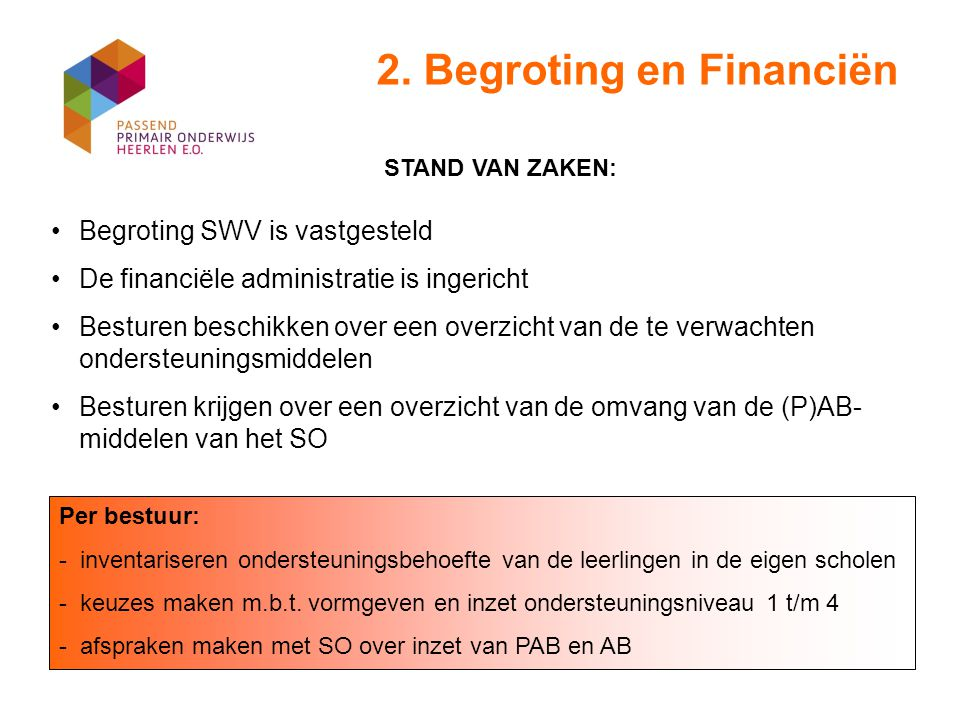 2. Begroting en Financiën Begroting SWV is vastgesteld De financiële administratie is ingericht Besturen beschikken over een overzicht van de te verwa