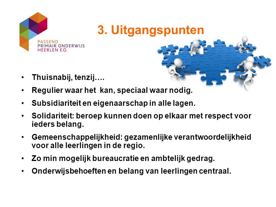 3. Uitgangspunten Thuisnabij, tenzij…. Regulier waar het kan, speciaal waar nodig. Subsidiariteit en eigenaarschap in alle lagen. Solidariteit: beroep
