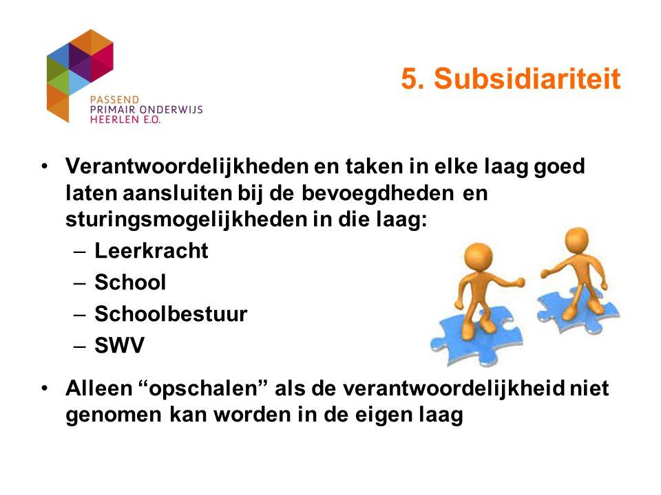 5. Subsidiariteit Verantwoordelijkheden en taken in elke laag goed laten aansluiten bij de bevoegdheden en sturingsmogelijkheden in die laag: –Leerkra