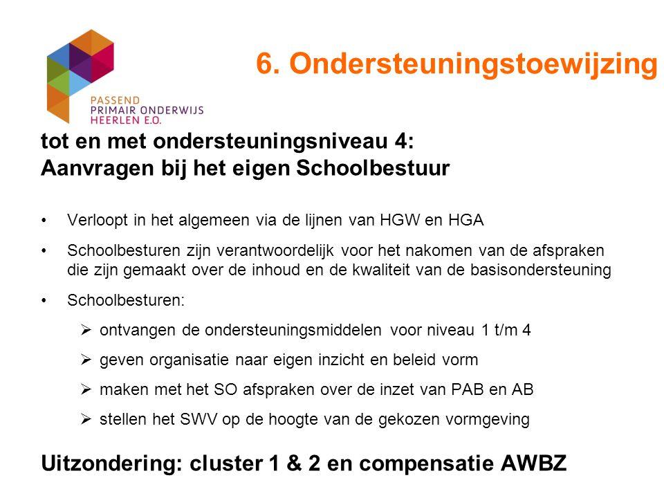6. Ondersteuningstoewijzing tot en met ondersteuningsniveau 4: Aanvragen bij het eigen Schoolbestuur Verloopt in het algemeen via de lijnen van HGW en