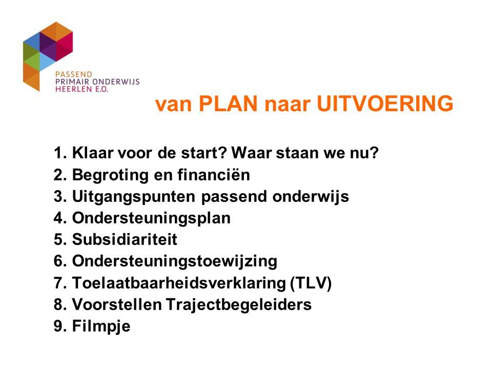 1. Klaar voor de start? Waar staan we nu? 2. Begroting en financiën 3. Uitgangspunten passend onderwijs 4. Ondersteuningsplan 5. Subsidiariteit 6. Ond