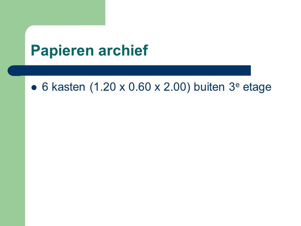Papieren archief 6 kasten (1.20 x 0.60 x 2.00) buiten 3 e etage