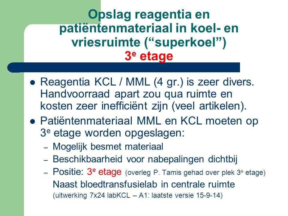 Opslag reagentia en patiëntenmateriaal in koel- en vriesruimte ( superkoel ) 3 e etage Reagentia KCL / MML (4 gr.) is zeer divers.