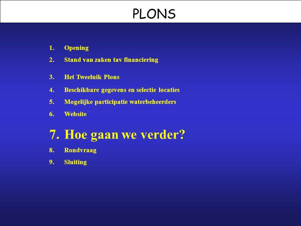 PLONS 1.Opening 2.Stand van zaken tav financiering 3.Het Tweeluik Plons 4.Beschikbare gegevens en selectie locaties 5.Mogelijke participatie waterbehe
