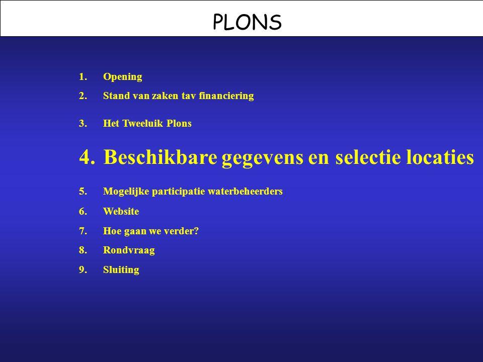 PLONS 1.Opening 2.Stand van zaken tav financiering 3.Het Tweeluik Plons 4.Beschikbare gegevens en selectie locaties 5. Mogelijke participatie waterbeh