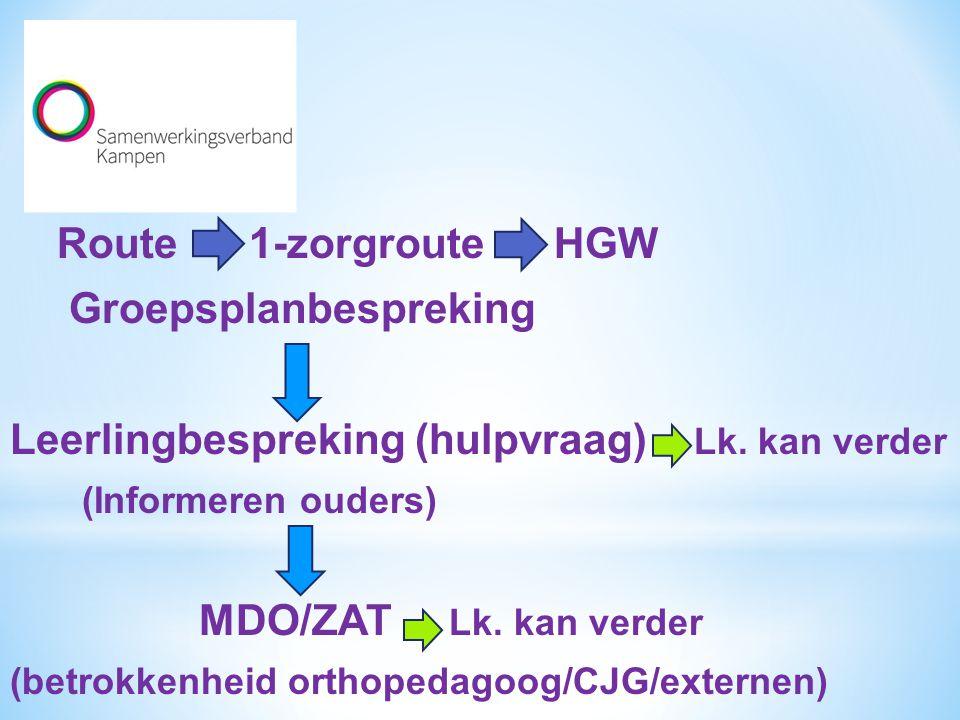 Route 1-zorgroute HGW Groepsplanbespreking Leerlingbespreking (hulpvraag) Lk. kan verder (Informeren ouders) MDO/ZAT Lk. kan verder (betrokkenheid ort