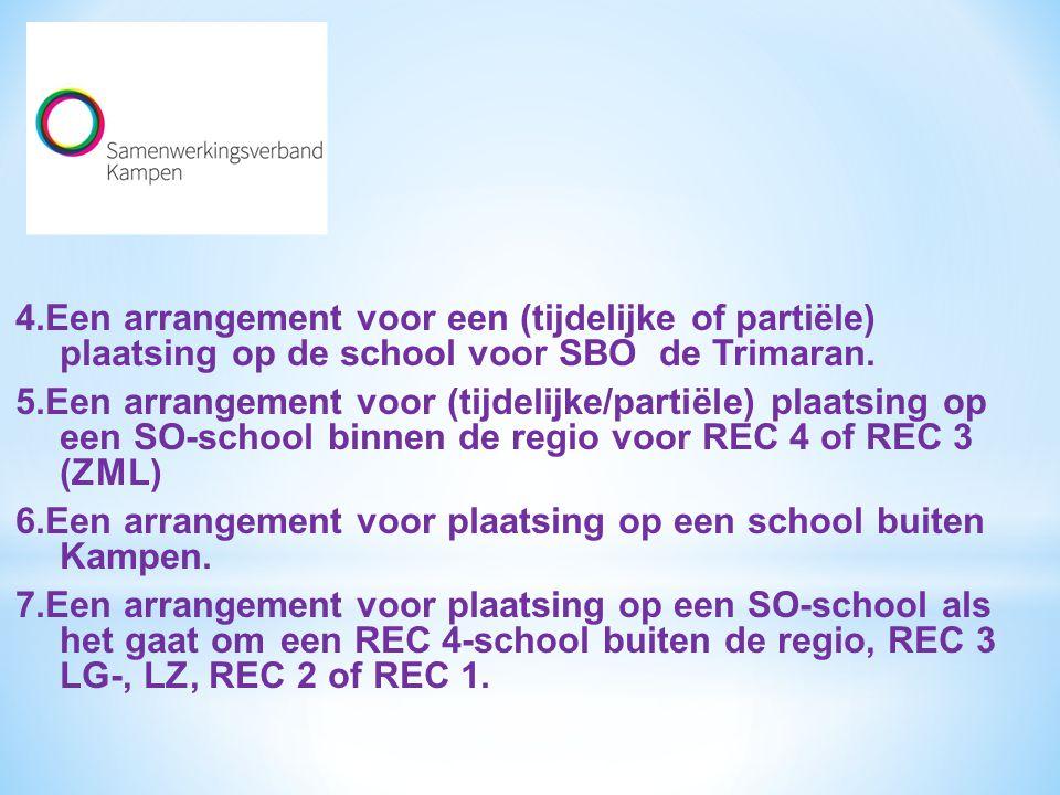 4.Een arrangement voor een (tijdelijke of partiële) plaatsing op de school voor SBO de Trimaran. 5.Een arrangement voor (tijdelijke/partiële) plaatsin