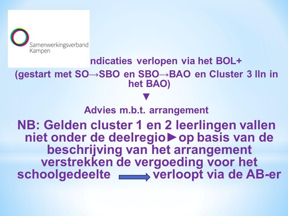 Alle herindicaties verlopen via het BOL+ (gestart met SO→SBO en SBO→BAO en Cluster 3 lln in het BAO) ▼ Advies m.b.t. arrangement NB: Gelden cluster 1