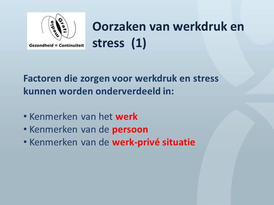 Oorzaken van werkdruk en stress (1) Factoren die zorgen voor werkdruk en stress kunnen worden onderverdeeld in: Kenmerken van het werk Kenmerken van d