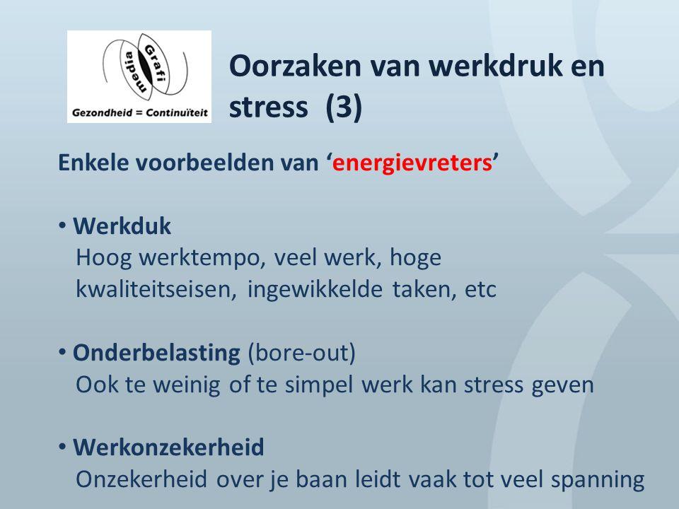 Oorzaken van werkdruk en stress (3) Enkele voorbeelden van 'energievreters' Werkduk Hoog werktempo, veel werk, hoge kwaliteitseisen, ingewikkelde take