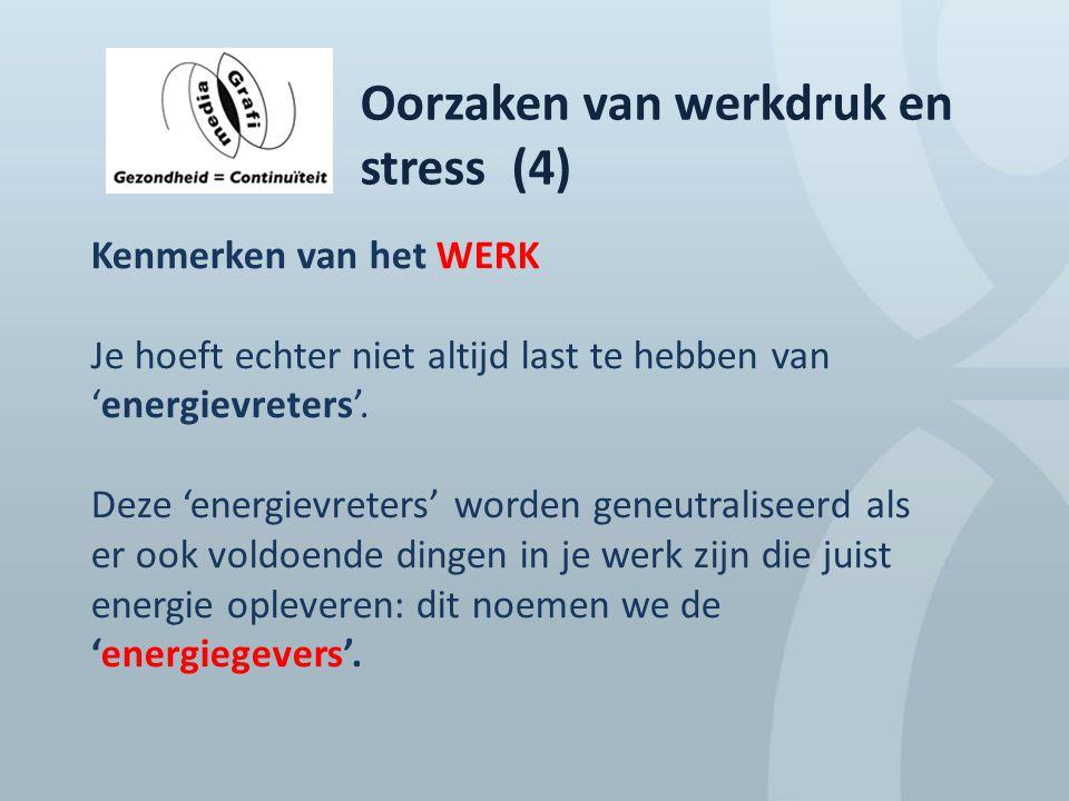 Oorzaken van werkdruk en stress (4) Kenmerken van het WERK Je hoeft echter niet altijd last te hebben van 'energievreters'. Deze 'energievreters' word