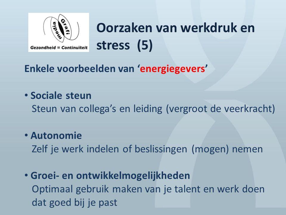 Oorzaken van werkdruk en stress (5) Enkele voorbeelden van 'energiegevers' Sociale steun Steun van collega's en leiding (vergroot de veerkracht) Auton