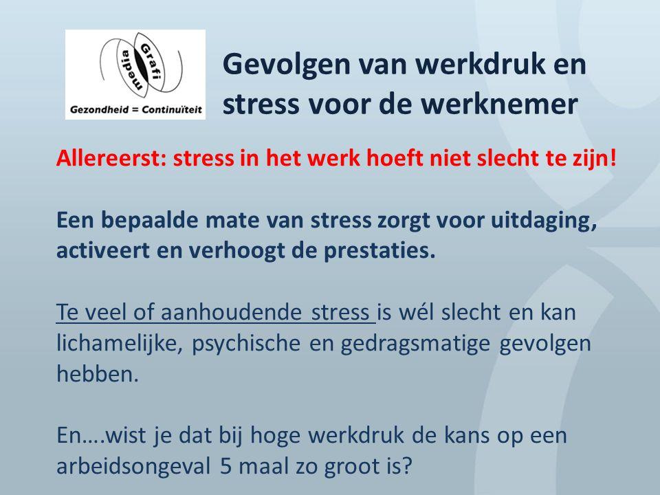 Gevolgen van werkdruk en stress voor de werknemer Allereerst: stress in het werk hoeft niet slecht te zijn! Een bepaalde mate van stress zorgt voor ui
