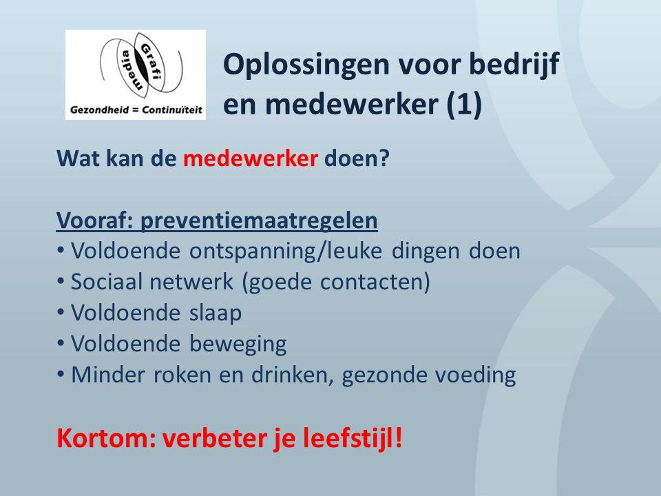 Oplossingen voor bedrijf en medewerker (1) Wat kan de medewerker doen? Vooraf: preventiemaatregelen Voldoende ontspanning/leuke dingen doen Sociaal ne