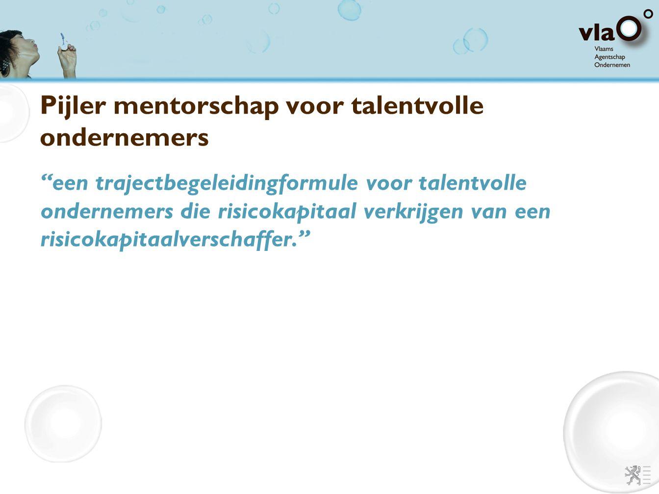 """Pijler mentorschap voor talentvolle ondernemers """"een trajectbegeleidingformule voor talentvolle ondernemers die risicokapitaal verkrijgen van een risi"""