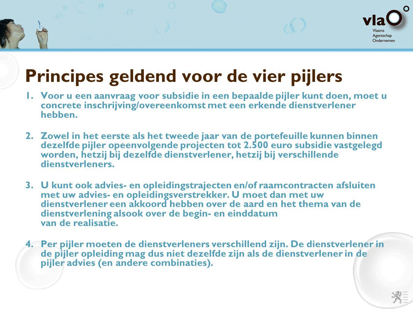 Principes geldend voor de vier pijlers 1.Voor u een aanvraag voor subsidie in een bepaalde pijler kunt doen, moet u concrete inschrijving/overeenkomst