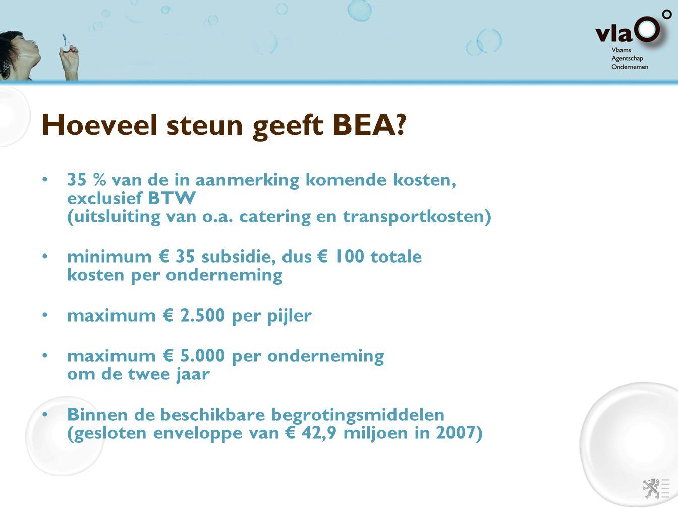 Hoeveel steun geeft BEA? 35 % van de in aanmerking komende kosten, exclusief BTW (uitsluiting van o.a. catering en transportkosten) minimum € 35 subsi