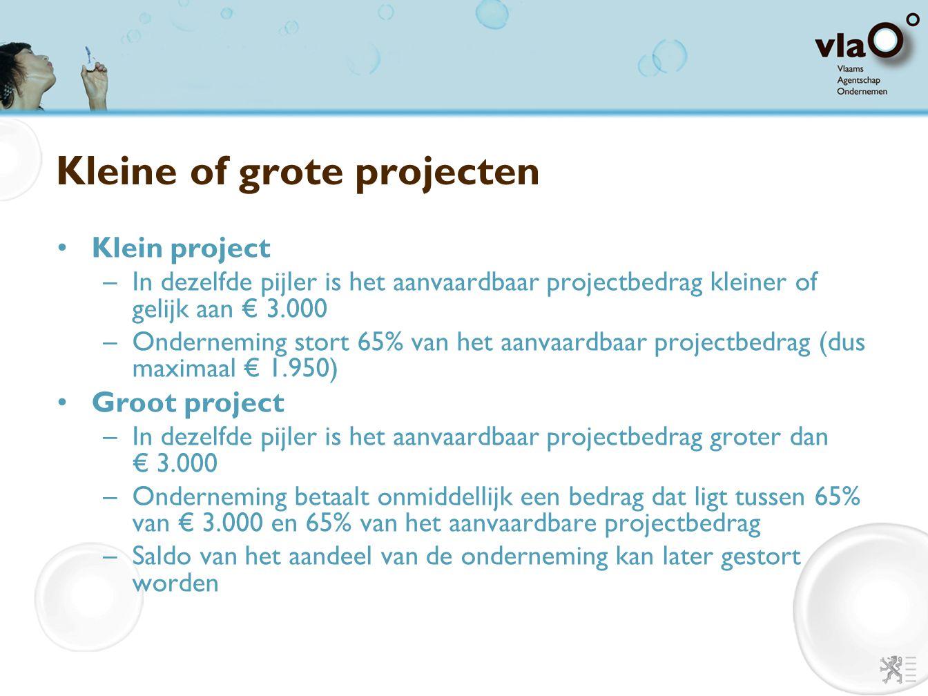 Kleine of grote projecten Klein project –In dezelfde pijler is het aanvaardbaar projectbedrag kleiner of gelijk aan € 3.000 –Onderneming stort 65% van