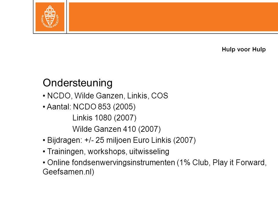Hulp voor Hulp Ondersteuning NCDO, Wilde Ganzen, Linkis, COS Aantal: NCDO 853 (2005) Linkis 1080 (2007) Wilde Ganzen 410 (2007) Bijdragen: +/- 25 miljoen Euro Linkis (2007) Trainingen, workshops, uitwisseling Online fondsenwervingsinstrumenten (1% Club, Play it Forward, Geefsamen.nl)