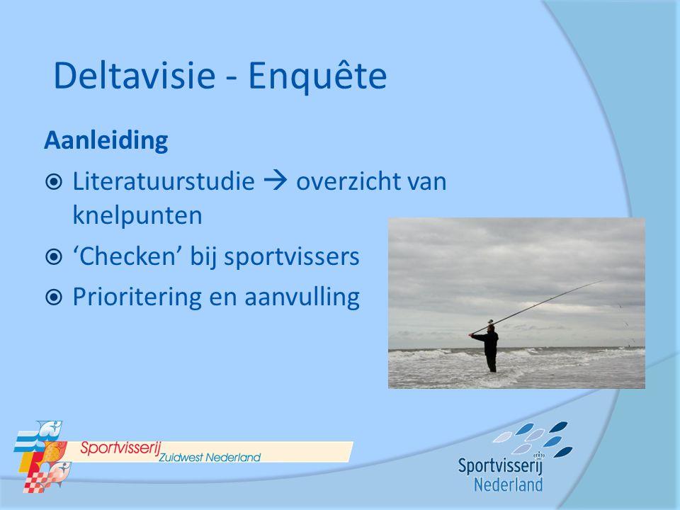 Aanleiding  Literatuurstudie  overzicht van knelpunten  'Checken' bij sportvissers  Prioritering en aanvulling Deltavisie - Enquête