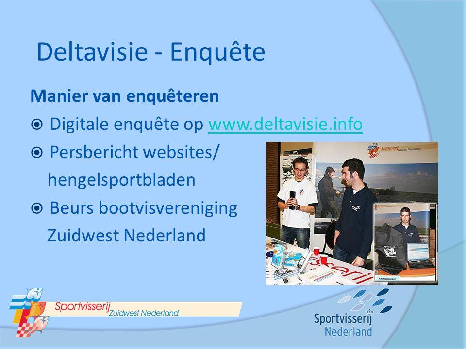 Manier van enquêteren  Digitale enquête op www.deltavisie.infowww.deltavisie.info  Persbericht websites/ hengelsportbladen  Beurs bootvisvereniging
