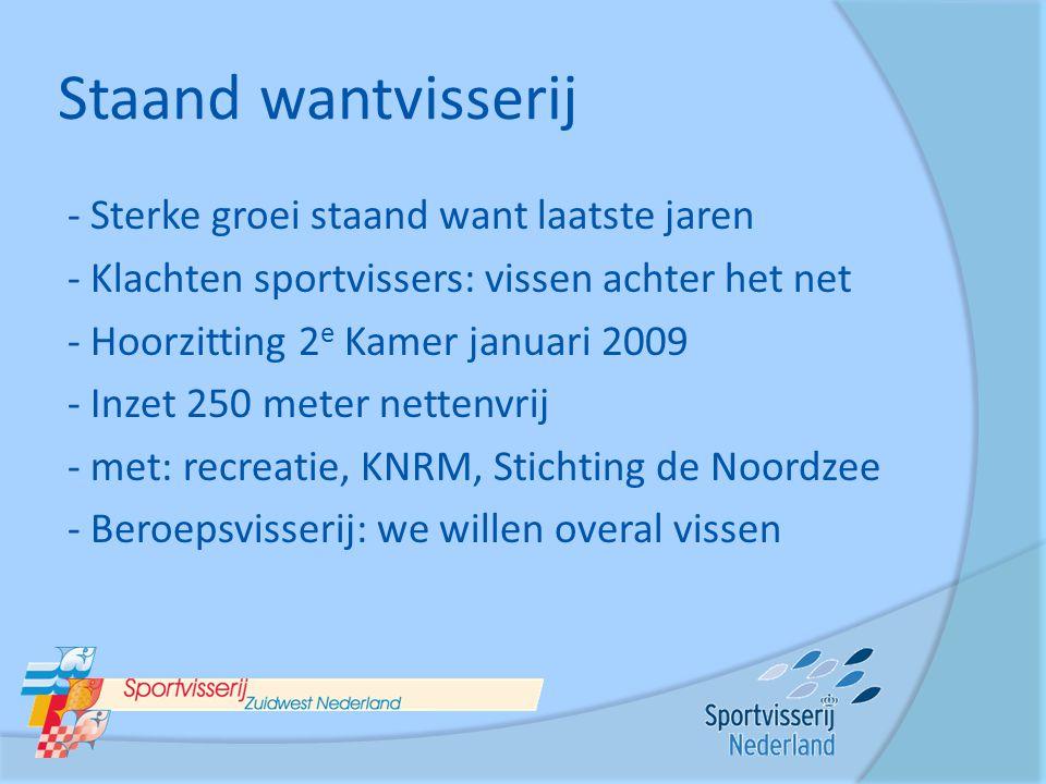Staand wantvisserij - Sterke groei staand want laatste jaren - Klachten sportvissers: vissen achter het net - Hoorzitting 2 e Kamer januari 2009 - Inz