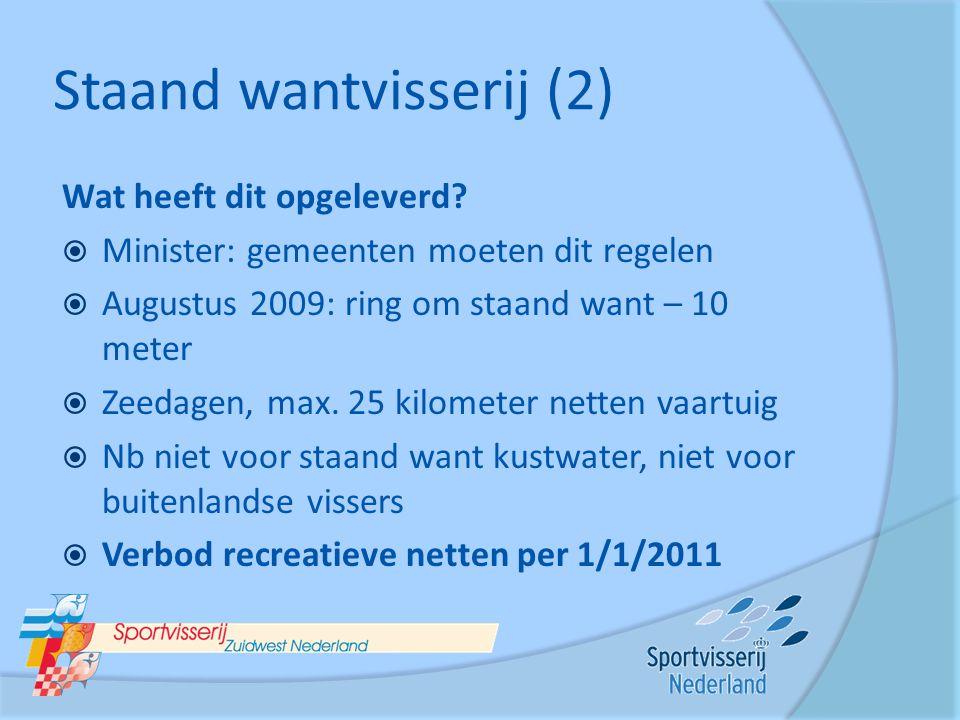 Staand wantvisserij (2) Wat heeft dit opgeleverd?  Minister: gemeenten moeten dit regelen  Augustus 2009: ring om staand want – 10 meter  Zeedagen,