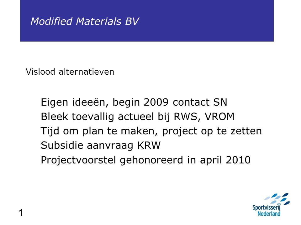 1 Vislood alternatieven Eigen ideeën, begin 2009 contact SN Bleek toevallig actueel bij RWS, VROM Tijd om plan te maken, project op te zetten Subsidie