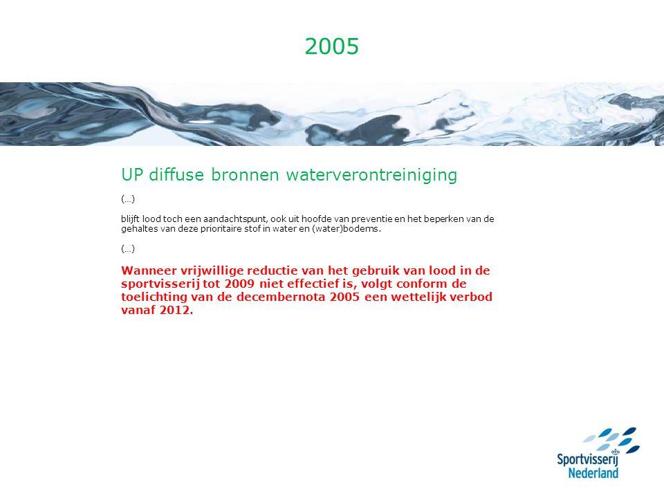 2005 UP diffuse bronnen waterverontreiniging (…) blijft lood toch een aandachtspunt, ook uit hoofde van preventie en het beperken van de gehaltes van