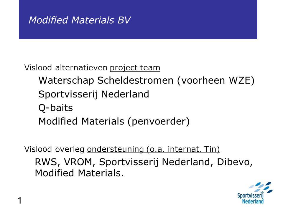 1 Vislood alternatieven project team Waterschap Scheldestromen (voorheen WZE) Sportvisserij Nederland Q-baits Modified Materials (penvoerder) Vislood