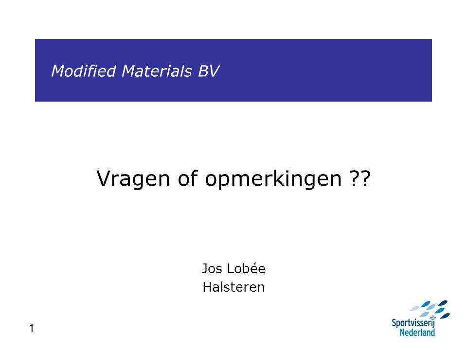 1 Modified Materials BV Vragen of opmerkingen ?? Jos Lobée Halsteren