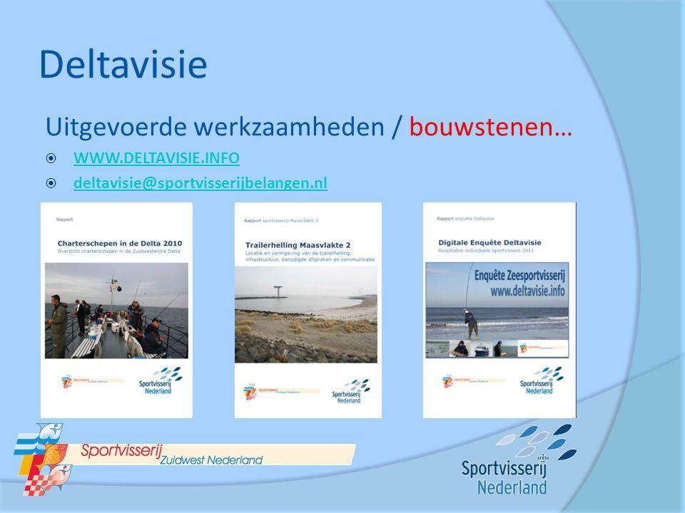 Deltavisie Uitgevoerde werkzaamheden / bouwstenen…  WWW.DELTAVISIE.INFO WWW.DELTAVISIE.INFO  deltavisie@sportvisserijbelangen.nl deltavisie@sportvis