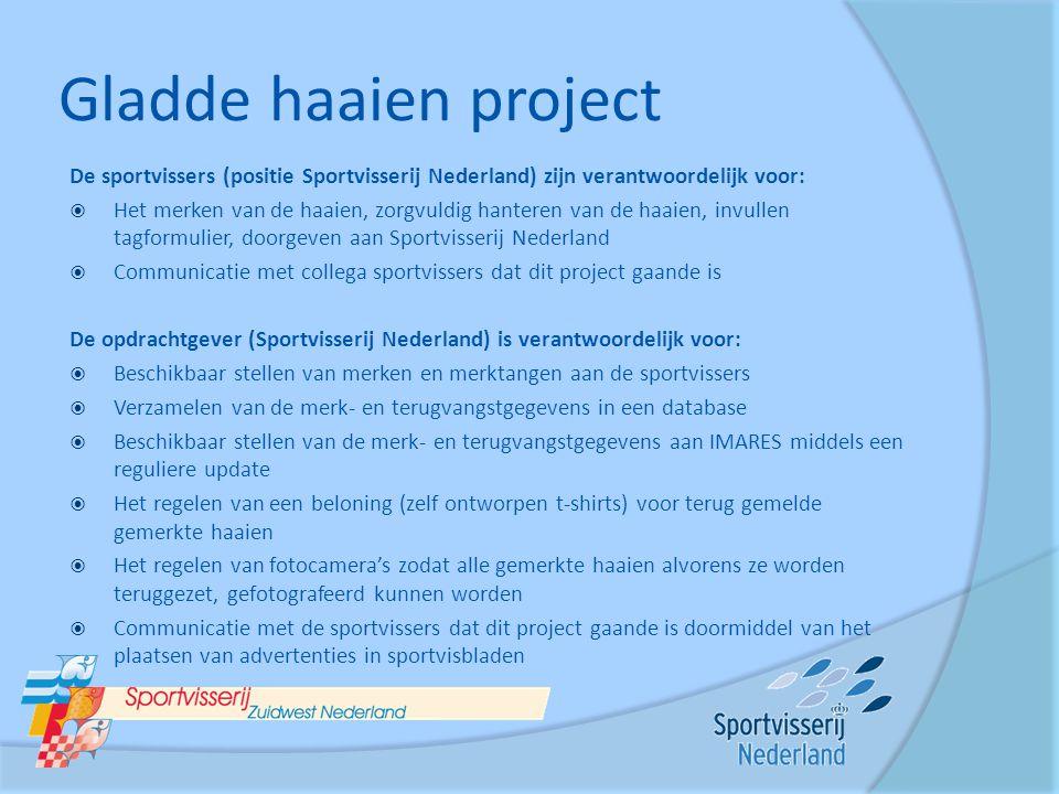 Gladde haaien project De sportvissers (positie Sportvisserij Nederland) zijn verantwoordelijk voor:  Het merken van de haaien, zorgvuldig hanteren va