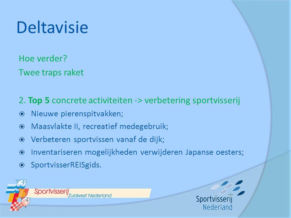 Deltavisie Hoe verder? Twee traps raket 2. Top 5 concrete activiteiten -> verbetering sportvisserij  Nieuwe pierenspitvakken;  Maasvlakte II, recrea