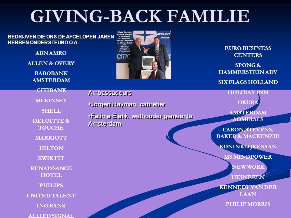 GIVING-BACK FAMILIE ABN AMRO ALLEN & OVERY RABOBANK AMSTERDAM CITIBANK MCKINSEY SHELL DELOITTE & TOUCHE MARRIOTT HILTON KWIK FIT RENAISSANCE HOTEL PHI