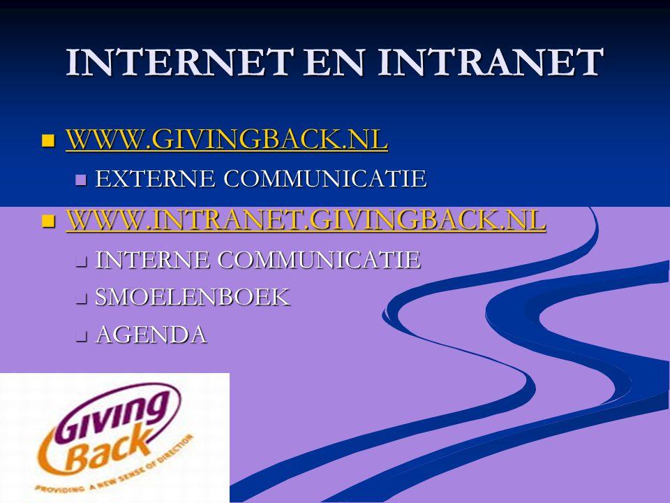 INTERNET EN INTRANET WWW.GIVINGBACK.NL WWW.GIVINGBACK.NL WWW.GIVINGBACK.NL EXTERNE COMMUNICATIE EXTERNE COMMUNICATIE WWW.INTRANET.GIVINGBACK.NL WWW.INTRANET.GIVINGBACK.NL WWW.INTRANET.GIVINGBACK.NL INTERNE COMMUNICATIE INTERNE COMMUNICATIE SMOELENBOEK SMOELENBOEK AGENDA AGENDA