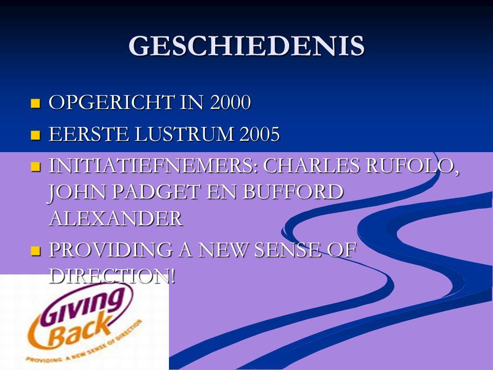 GESCHIEDENIS OPGERICHT IN 2000 OPGERICHT IN 2000 EERSTE LUSTRUM 2005 EERSTE LUSTRUM 2005 INITIATIEFNEMERS: CHARLES RUFOLO, JOHN PADGET EN BUFFORD ALEXANDER INITIATIEFNEMERS: CHARLES RUFOLO, JOHN PADGET EN BUFFORD ALEXANDER PROVIDING A NEW SENSE OF DIRECTION.