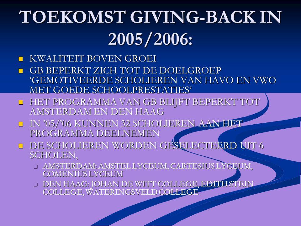 TOEKOMST GIVING-BACK IN 2005/2006: KWALITEIT BOVEN GROEI KWALITEIT BOVEN GROEI GB BEPERKT ZICH TOT DE DOELGROEP 'GEMOTIVEERDE SCHOLIEREN VAN HAVO EN VWO MET GOEDE SCHOOLPRESTATIES' GB BEPERKT ZICH TOT DE DOELGROEP 'GEMOTIVEERDE SCHOLIEREN VAN HAVO EN VWO MET GOEDE SCHOOLPRESTATIES' HET PROGRAMMA VAN GB BLIJFT BEPERKT TOT AMSTERDAM EN DEN HAAG HET PROGRAMMA VAN GB BLIJFT BEPERKT TOT AMSTERDAM EN DEN HAAG IN '05/'06 KUNNEN 32 SCHOLIEREN AAN HET PROGRAMMA DEELNEMEN IN '05/'06 KUNNEN 32 SCHOLIEREN AAN HET PROGRAMMA DEELNEMEN DE SCHOLIEREN WORDEN GESELECTEERD UIT 6 SCHOLEN, DE SCHOLIEREN WORDEN GESELECTEERD UIT 6 SCHOLEN, AMSTERDAM: AMSTEL LYCEUM, CARTESIUS LYCEUM, COMENIUS LYCEUM AMSTERDAM: AMSTEL LYCEUM, CARTESIUS LYCEUM, COMENIUS LYCEUM DEN HAAG: JOHAN DE WITT COLLEGE, EDITH STEIN COLLEGE, WATERINGSVELD COLLEGE DEN HAAG: JOHAN DE WITT COLLEGE, EDITH STEIN COLLEGE, WATERINGSVELD COLLEGE
