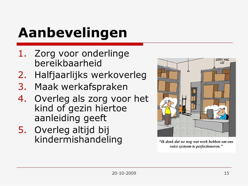 20-10-200915 Aanbevelingen 1.Zorg voor onderlinge bereikbaarheid 2.Halfjaarlijks werkoverleg 3.Maak werkafspraken 4.Overleg als zorg voor het kind of
