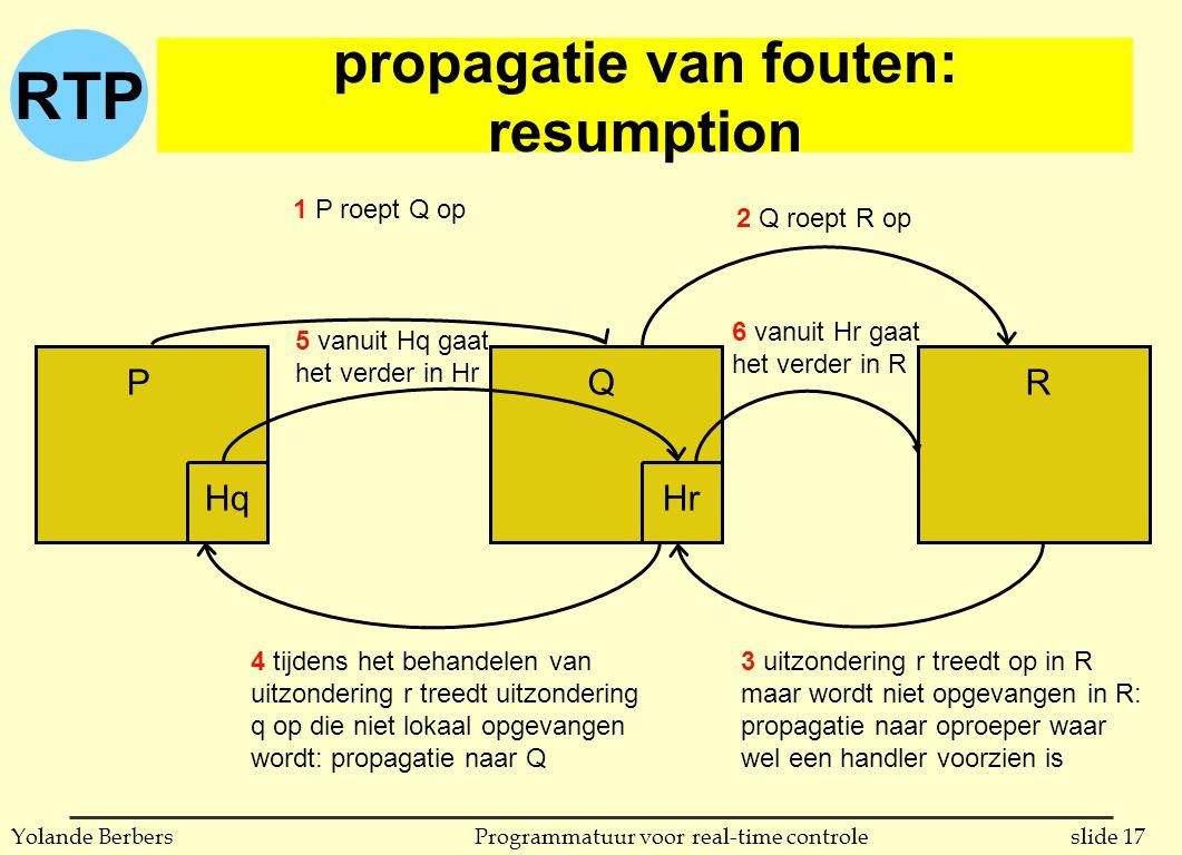 RTP slide 17Programmatuur voor real-time controleYolande Berbers propagatie van fouten: resumption Q PRQ HrHq 3 uitzondering r treedt op in R maar wor