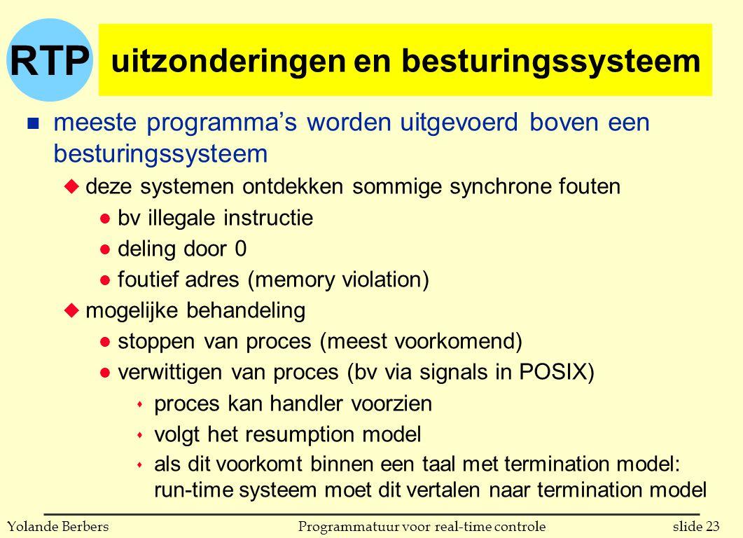 RTP slide 23Programmatuur voor real-time controleYolande Berbers uitzonderingen en besturingssysteem n meeste programma's worden uitgevoerd boven een