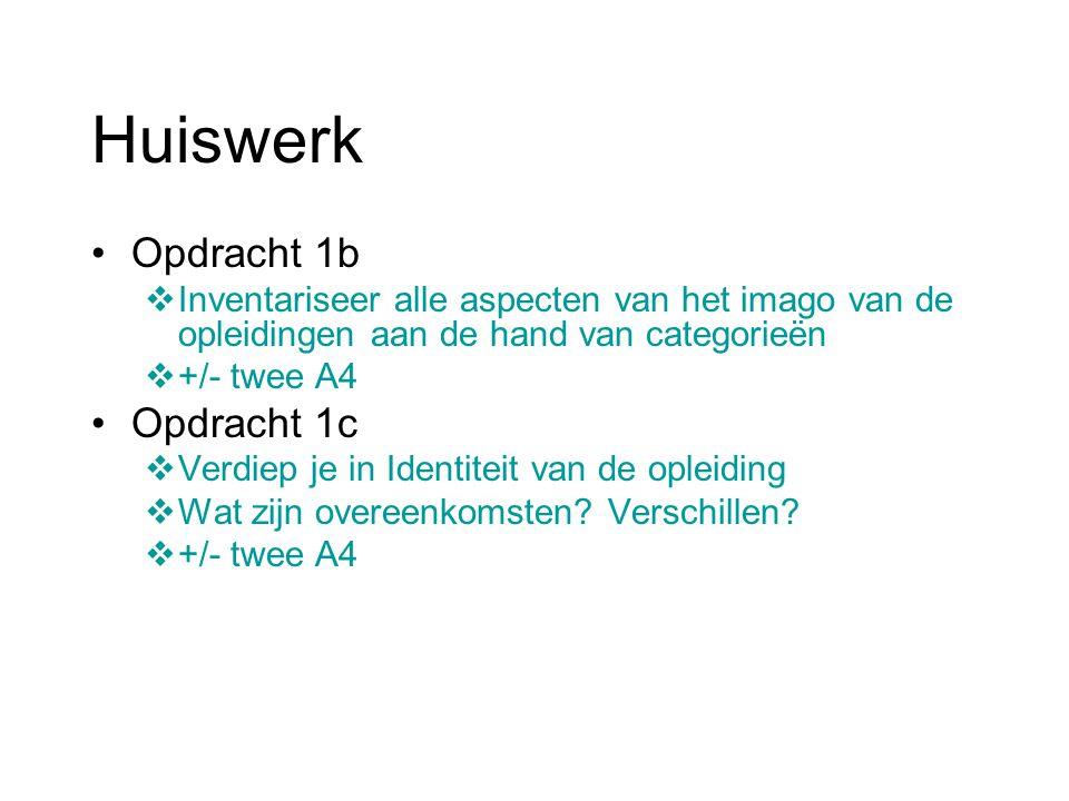Huiswerk Opdracht 1b  Inventariseer alle aspecten van het imago van de opleidingen aan de hand van categorieën  +/- twee A4 Opdracht 1c  Verdiep je in Identiteit van de opleiding  Wat zijn overeenkomsten.