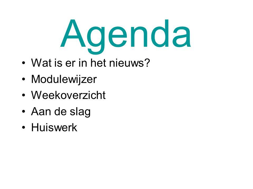 Agenda Wat is er in het nieuws Modulewijzer Weekoverzicht Aan de slag Huiswerk